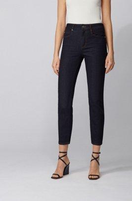 Slim-fit jeans in indigo comfort-stretch denim, Dark Blue