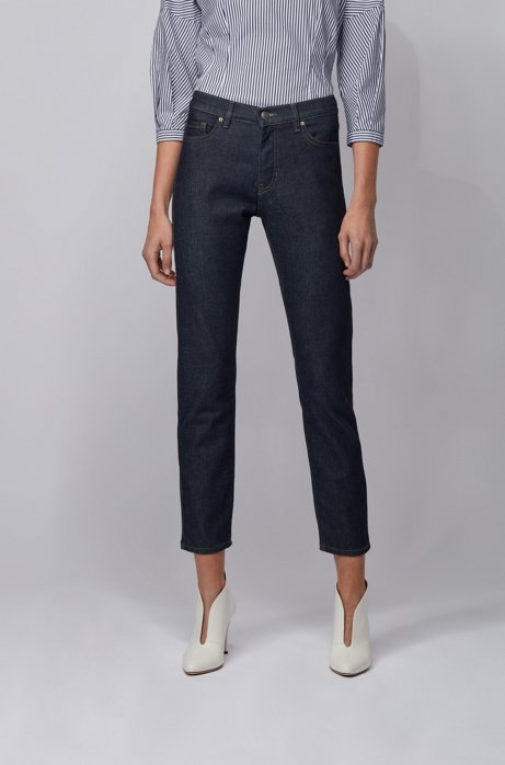 Slim-fit cropped jeans in deep-blue stretch denim, Dark Blue