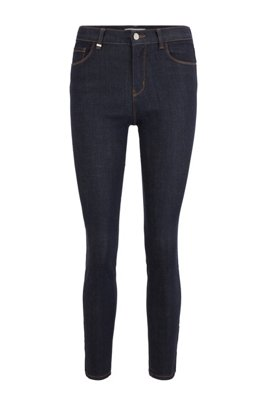 Skinny-fit jeans in deep-blue super-stretch denim, Dark Blue