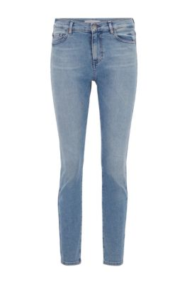 Slim-fit jeans van comfortabel vintage-blue stretchdenim, Turkoois