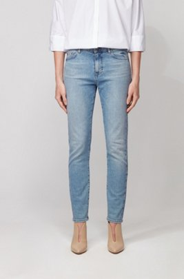 Slim-fit jeans in vintage-blue comfort-stretch denim, Turquoise