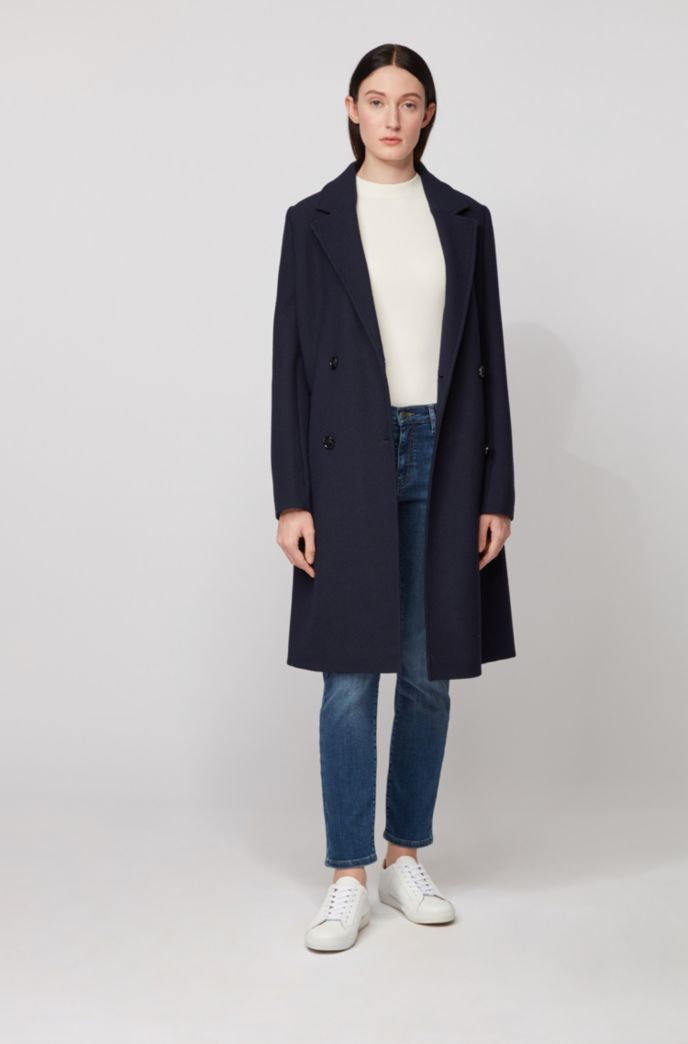 Slim-fit jeans van donkerblauw comfortabel stretchdenim