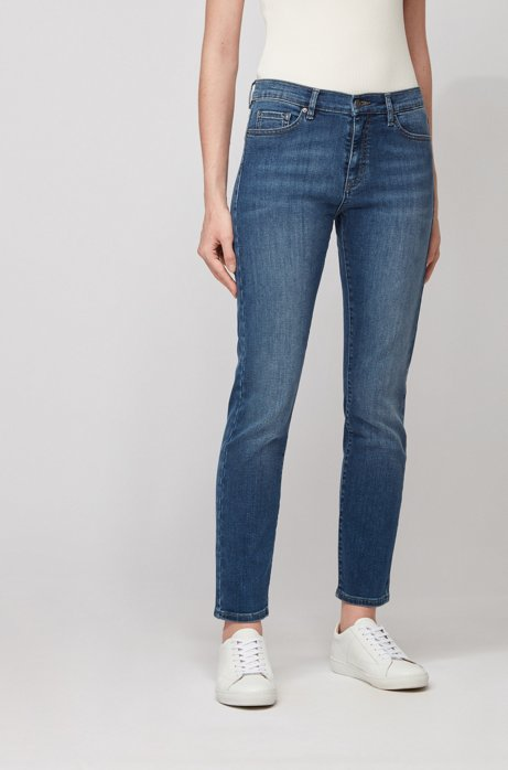 Slim-fit jeans van donkerblauw comfortabel stretchdenim, Donkerblauw