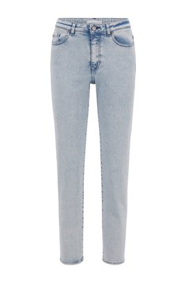 Regular-fit cropped jeans in bleached super-stretch denim, White