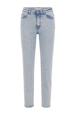 Regular-fit cropped jeans in bleached super-stretch denim, White