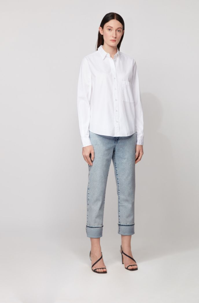 Regular-fit cropped jeans in bleached super-stretch denim