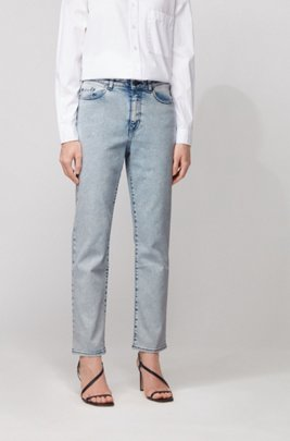 Vaqueros regular fit tobilleros en denim superelástico desteñido, Blanco