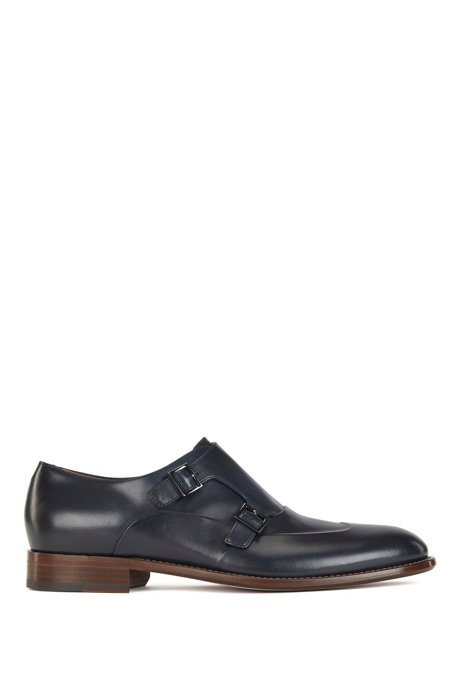 Italian-made double-monk shoes in vegetable-tanned leather, Dark Blue