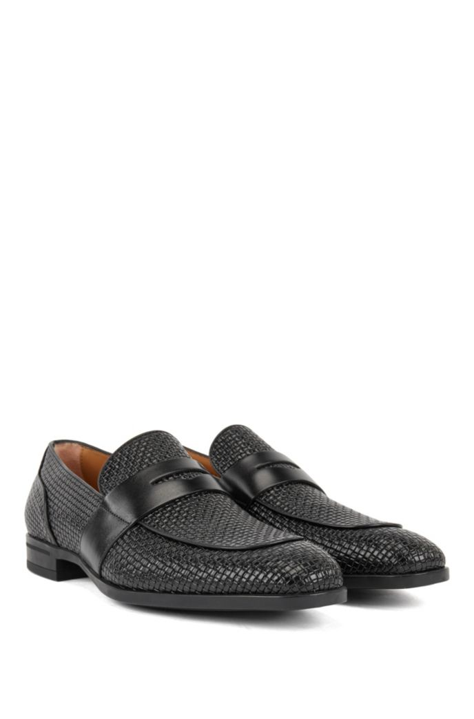 Italian-made loafers in woven-embossed calf leather