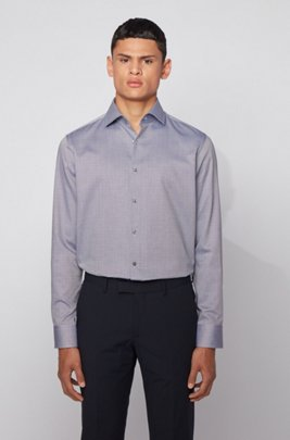 Regular-fit shirt in micro-dobby cotton with stand collar, Dark Blue