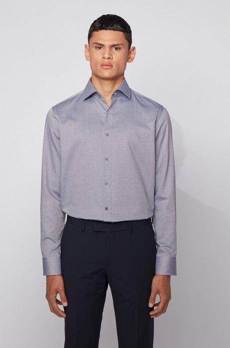 Regular-fit overhemd van katoen met een fijne dobbystructuur en opstaande kraag, Donkerblauw