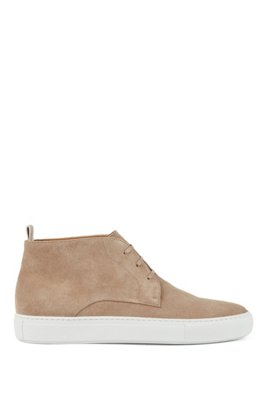 Calf-suede desert boots with rubber sole, Beige