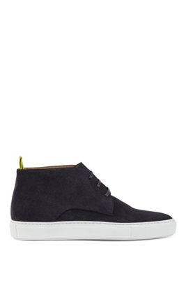 Calf-suede desert boots with rubber sole, Dark Blue