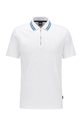 Polo en coton interlock à encolure zippée, Blanc