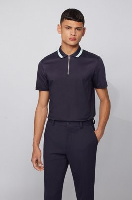 Zip-neck polo shirt in interlock cotton, ダークブルー