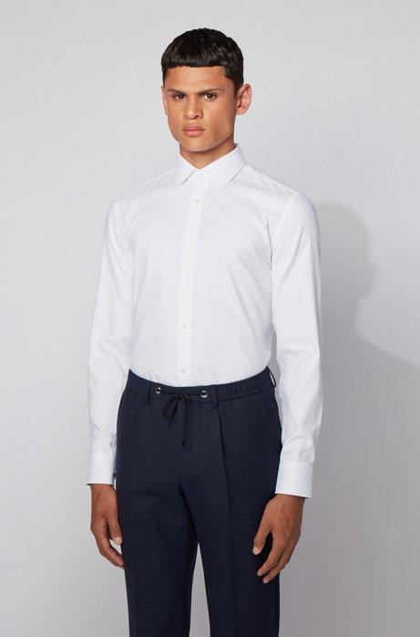 Camicia slim fit in cotone con microlavorazione, Bianco