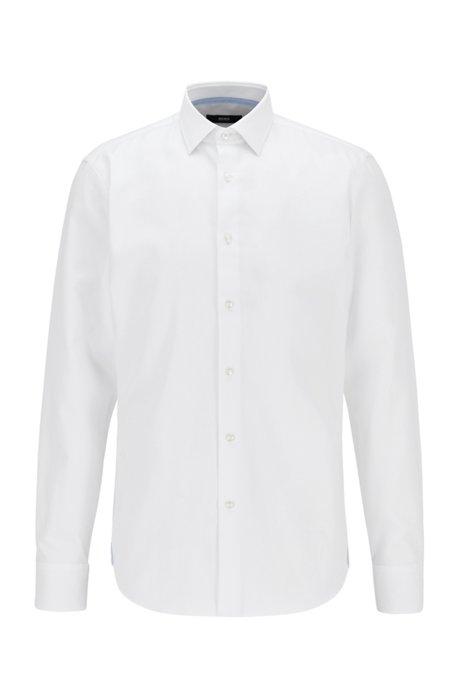 Regular-fit shirt in micro-dobby cotton, White