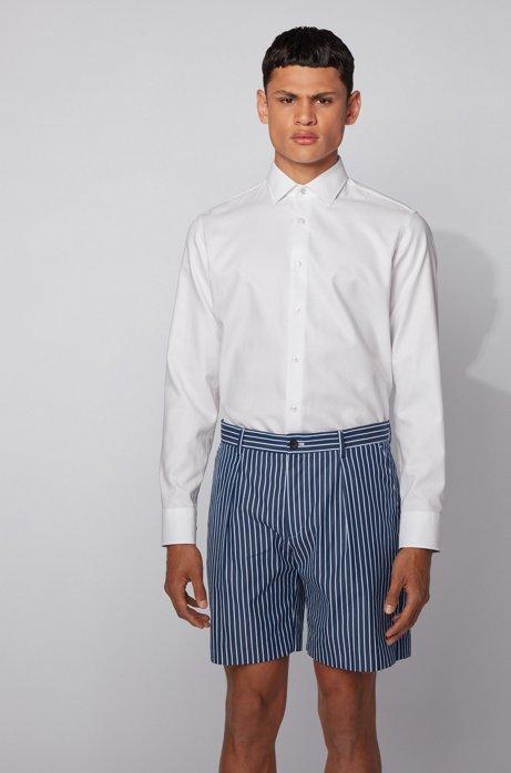 Camicia regular fit in cotone microdobby, Bianco