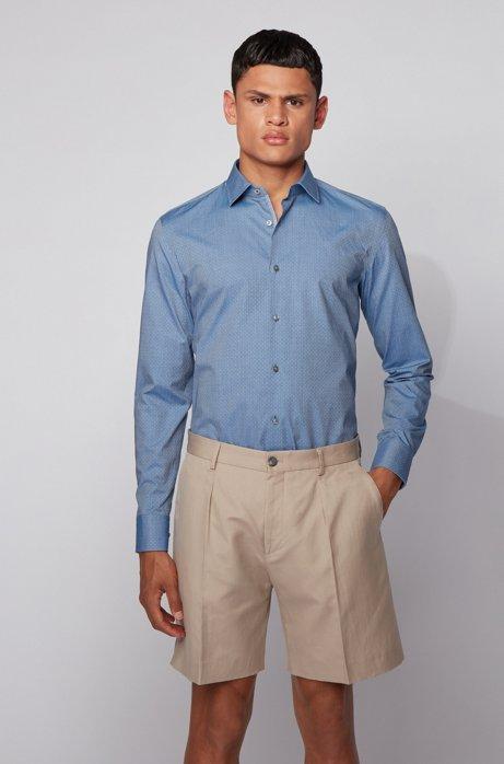 Slim-Fit Hemd aus strukturiertem Baumwoll-Chambray, Blau