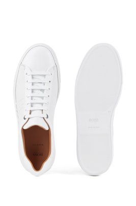 Italian-made trainers in calf leather with monogram detail, White