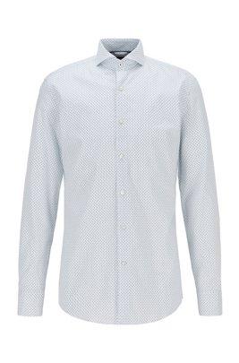 Slim-Fit Hemd aus Oxford-Baumwolle mit filigranem Motiv, Hellblau