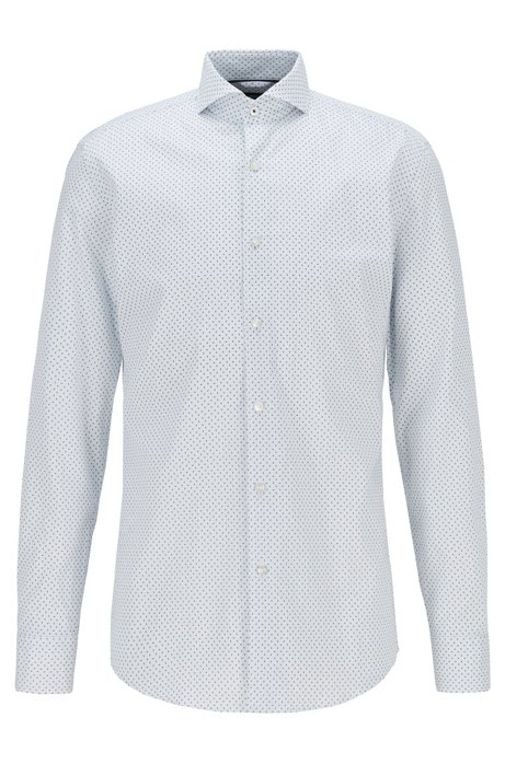 Slim-fit shirt in Oxford cotton with micro motif, Light Blue
