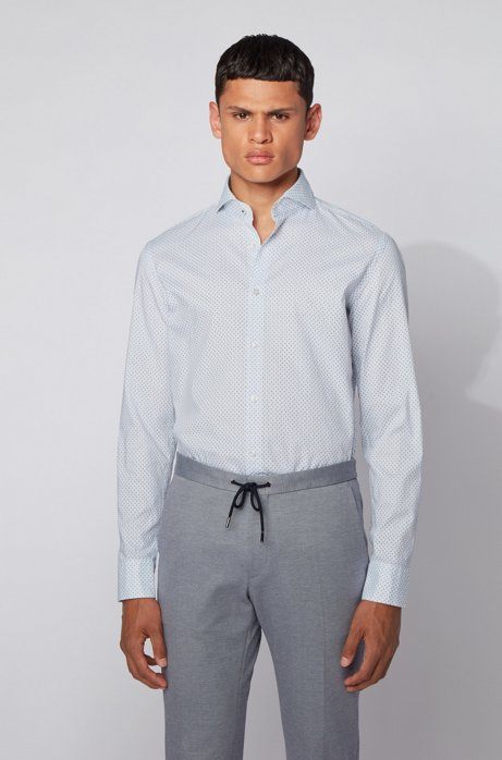 Camicia slim fit in cotone Oxford con micromotivo, Celeste