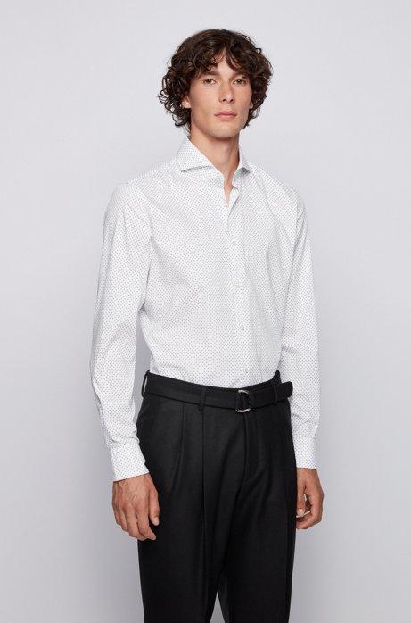 Slim-Fit Hemd aus Oxford-Baumwolle mit filigranem Motiv, Pink