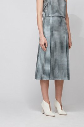 Pleated midi skirt in printed silk, Patterned