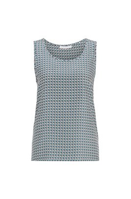 Sleeveless top in pure silk with all-over print, Patterned