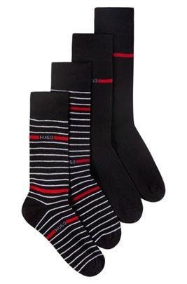 Zweier-Pack Socken aus Baumwoll-Mix mit Logo und Streifen-Dessin, Schwarz