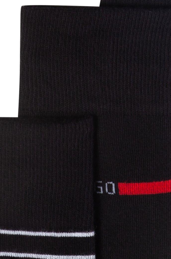 Lot de deux paires de chaussettes en coton mélangé à logo et rayures
