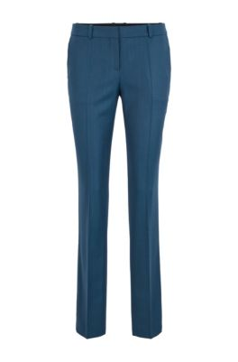 Pantalon Regular Fit en laine vierge à carreaux unis, Fantaisie
