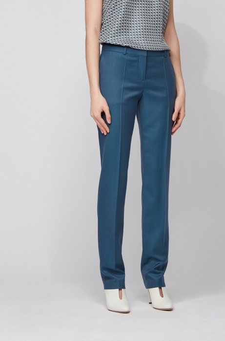 Regular-fit trousers in plain-check virgin wool, Patterned