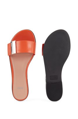 Calf-leather slides with pyramid-shaped metal trim, Orange