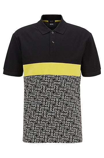 男士交织字母镶片常规版型棉质 Polo 衫,  001_黑色