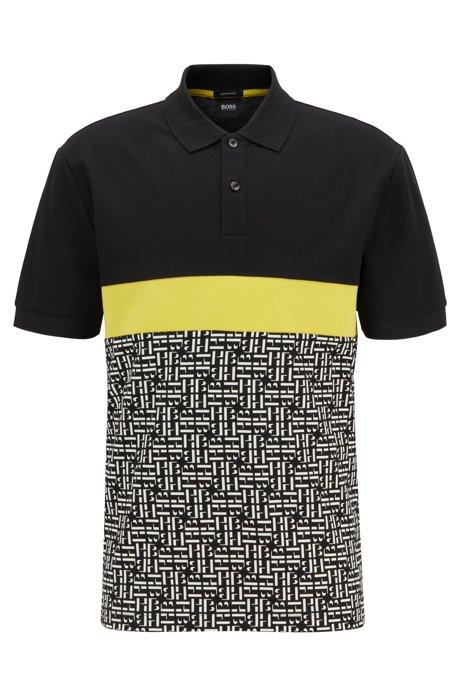Regular-fit cotton polo shirt with monogram panel, Black