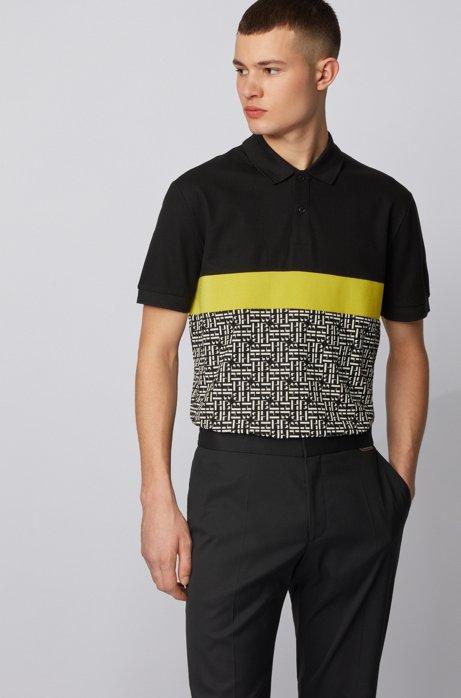 Polo regular fit in cotone con pannello con monogramma, Nero