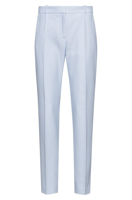 Regular-fit cigarette trousers in patterned stretch fabric, Light Blue