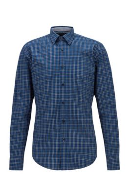 Slim-fit shirt in checked washed cotton, Dark Blue