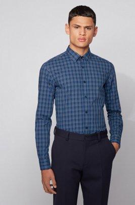 Kariertes Slim-Fit Hemd aus gewaschener Baumwolle, Dunkelblau
