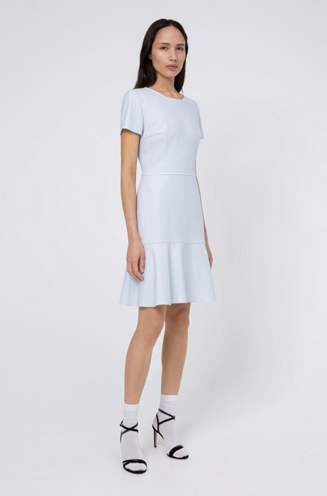 Scoop-neck dress in micro-patterned stretch fabric, Light Blue