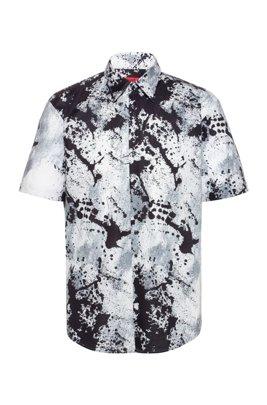 Slim-fit overhemd in katoenen canvas met abstracte print, Donkergrijs