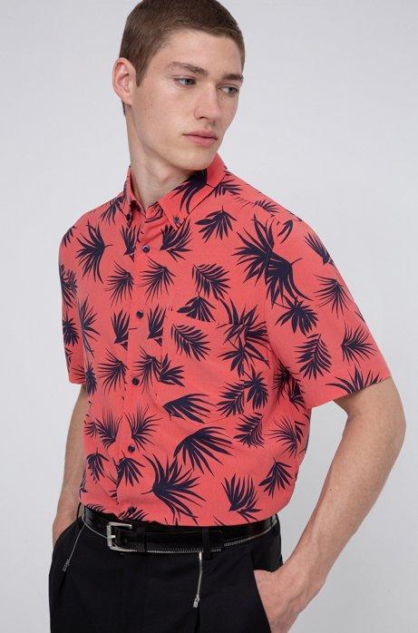 Camicia button down relaxed fit con stampa all-over, Rosso chiaro