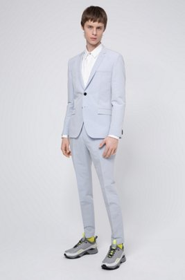 Extra-slim-fit cotton-blend suit with logo lining, Light Blue