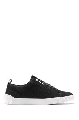Sneakers aus Nappaleder mit Schnürung und Kontrast-Details, Schwarz