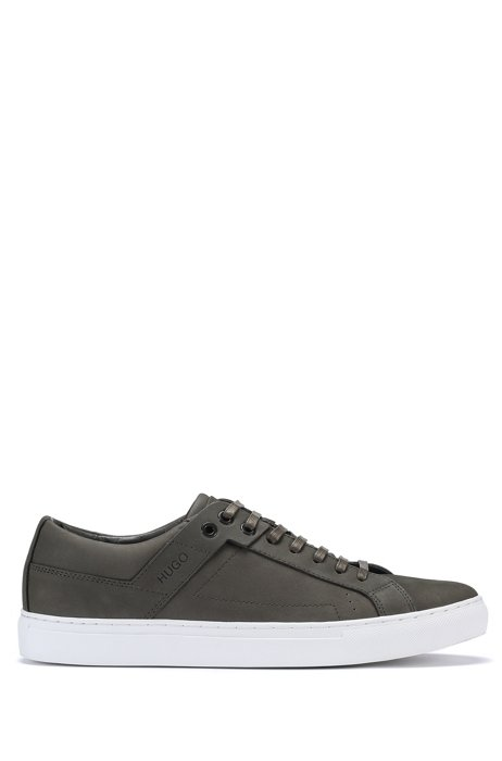 Low-top trainers in nubuck suede with logo detailing, Dark Green