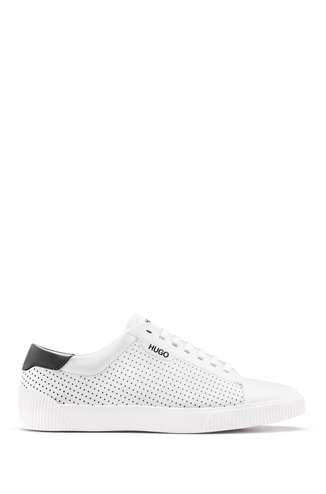 Lace-up trainers in nappa leather with perforated details, White