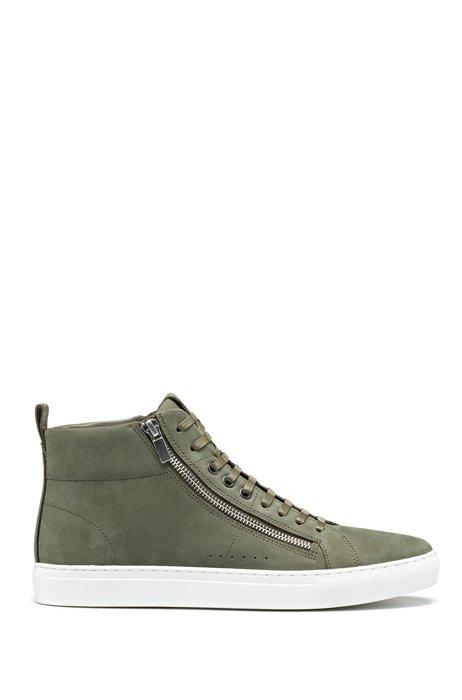 Sneakers high-top in pelle nabuk con zip, Verde scuro