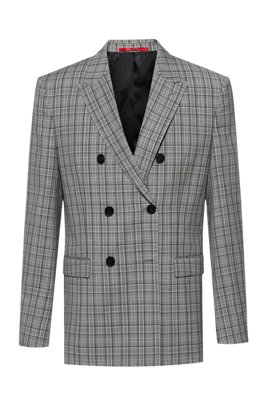 Slim-fit double-breasted jacket in Glen-check virgin wool, Silver